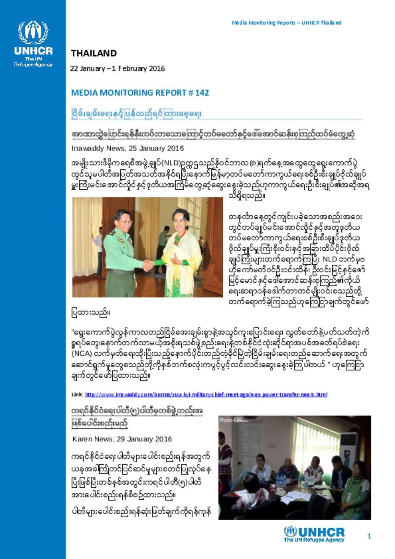 Media Reports Burmese 22 January 1 February 2016