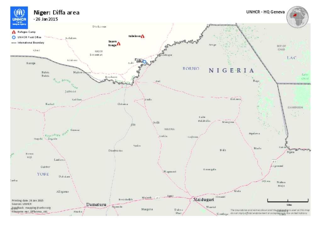 Document Niger UNHCR Diffa Area Map - Niger map hd pdf