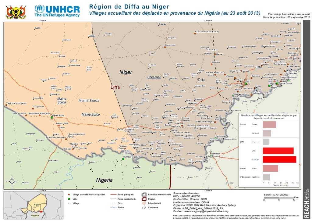 Document Niger UNHCRREACH Carte De Diffa Villages Accueillant - Niger map hd pdf