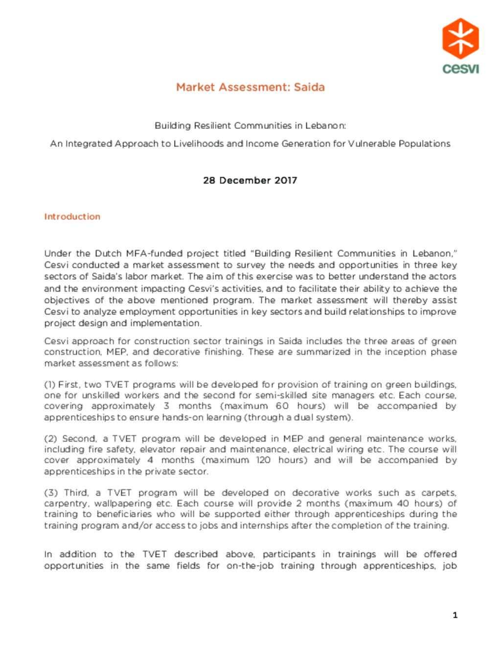 Document - Cesvi Market assessment in Saida