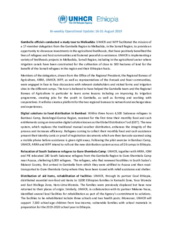 Document - Bi-weekly Operational Update: 16-31 August 2019