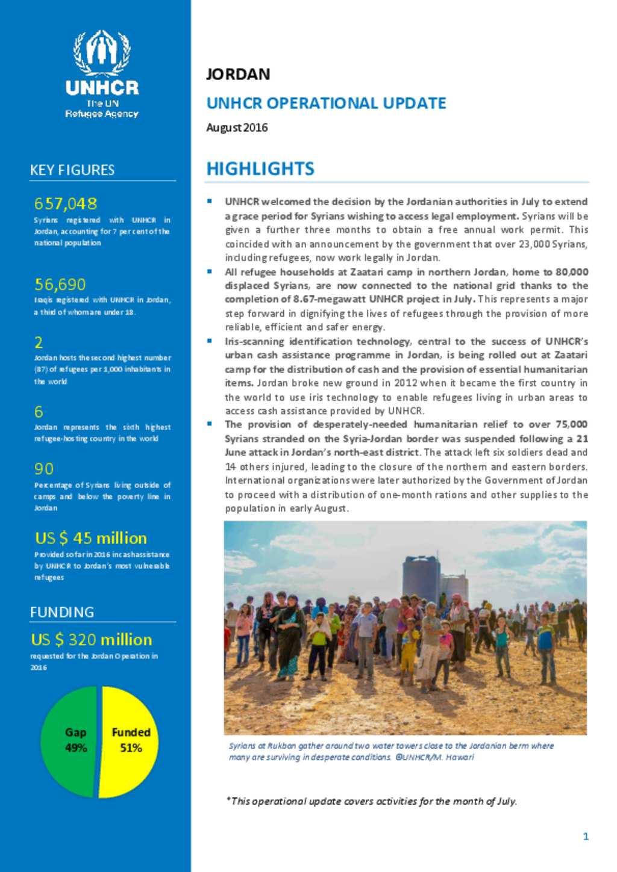 Document - UNHCR Jordan Operational Update - August 2016 e6d383bae