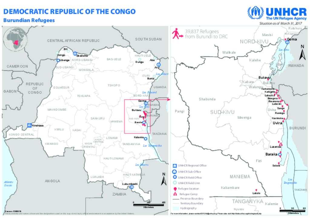Document UNHCR DRC Burundian Refugee Locations map