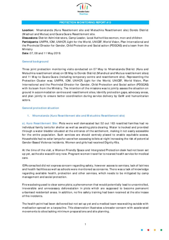 Document - Protection Monitoring Report No 13 Kura-Metuchira