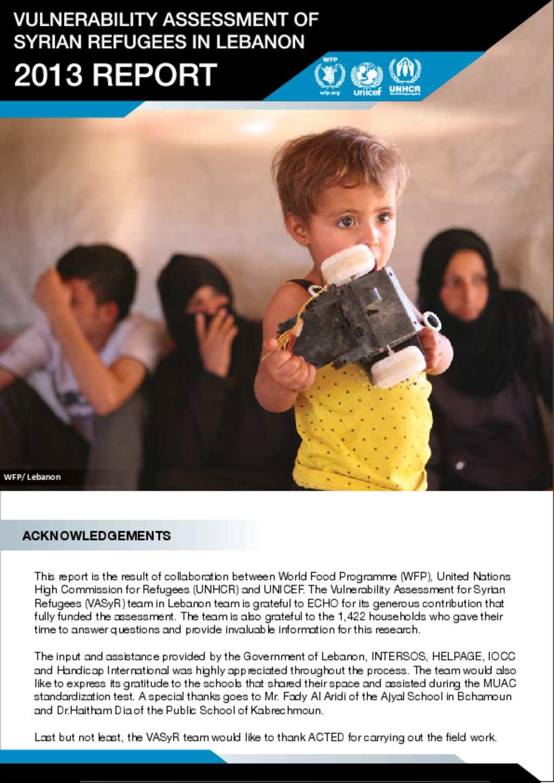 Document - Vulnerability Assessment of Syrian Refugees in Lebanon