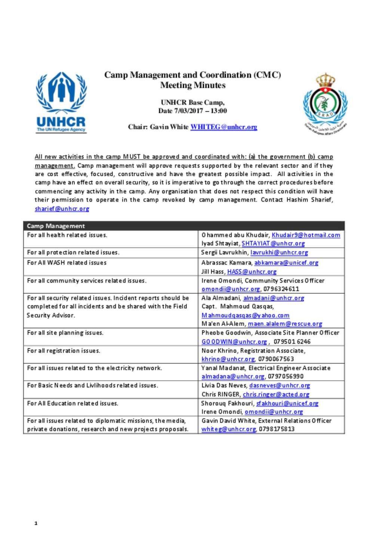 Document - Za'atari CMC Minutes of Meeting March 7th, 2017