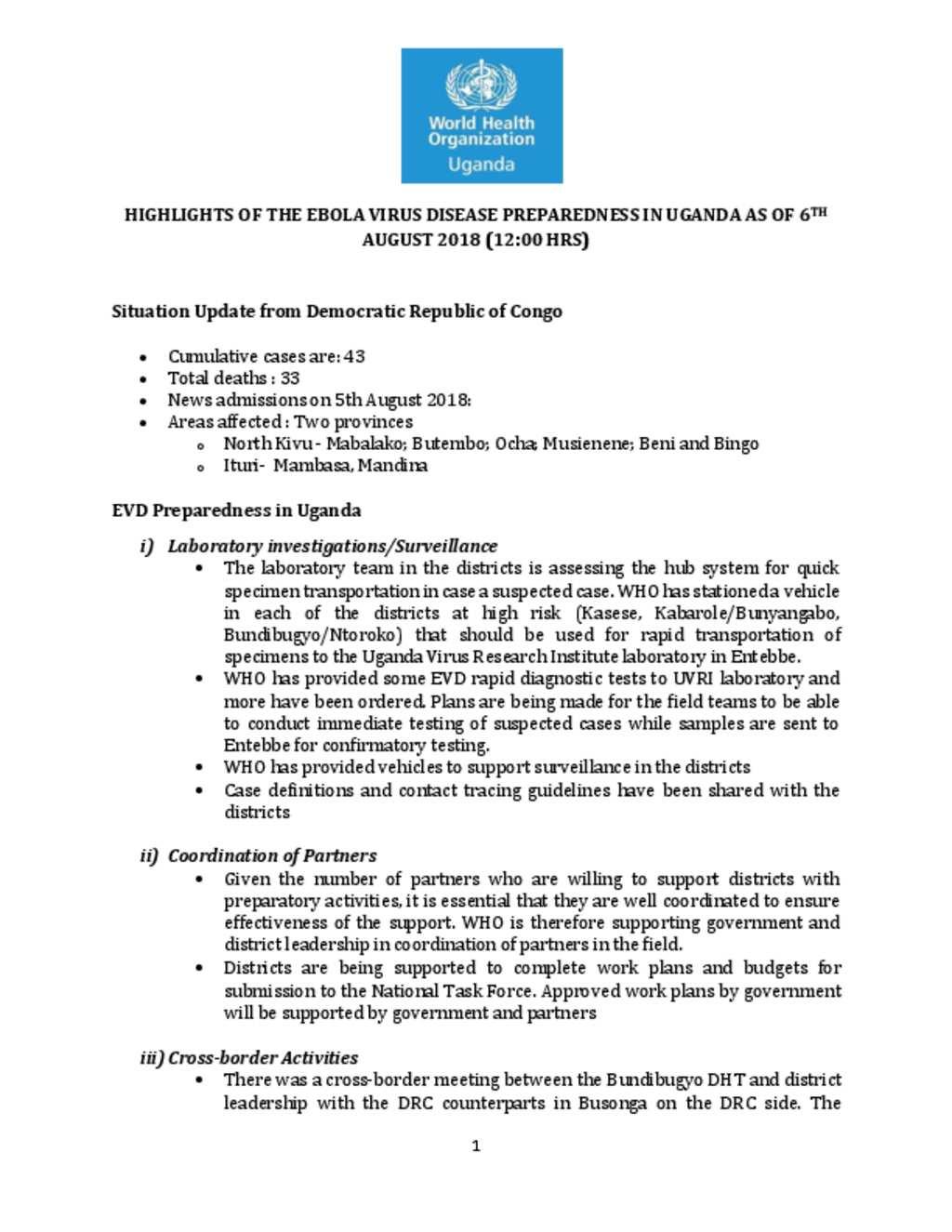 document highlights of the ebola virus disease preparedness in
