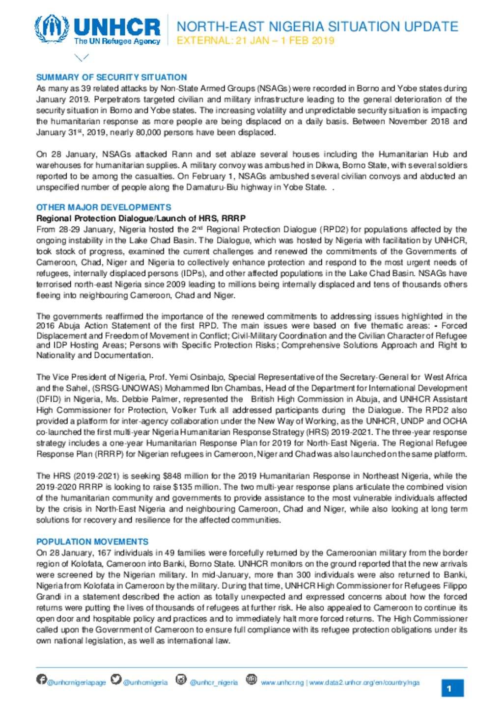 Document - UNHCR Nigeria: North-East Nigeria Situation Update 21