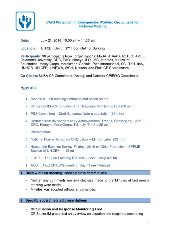 document interagency lebanon child protection meeting