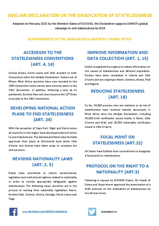 Doent Abidjan Declaration On The Eradication Of Statelessness