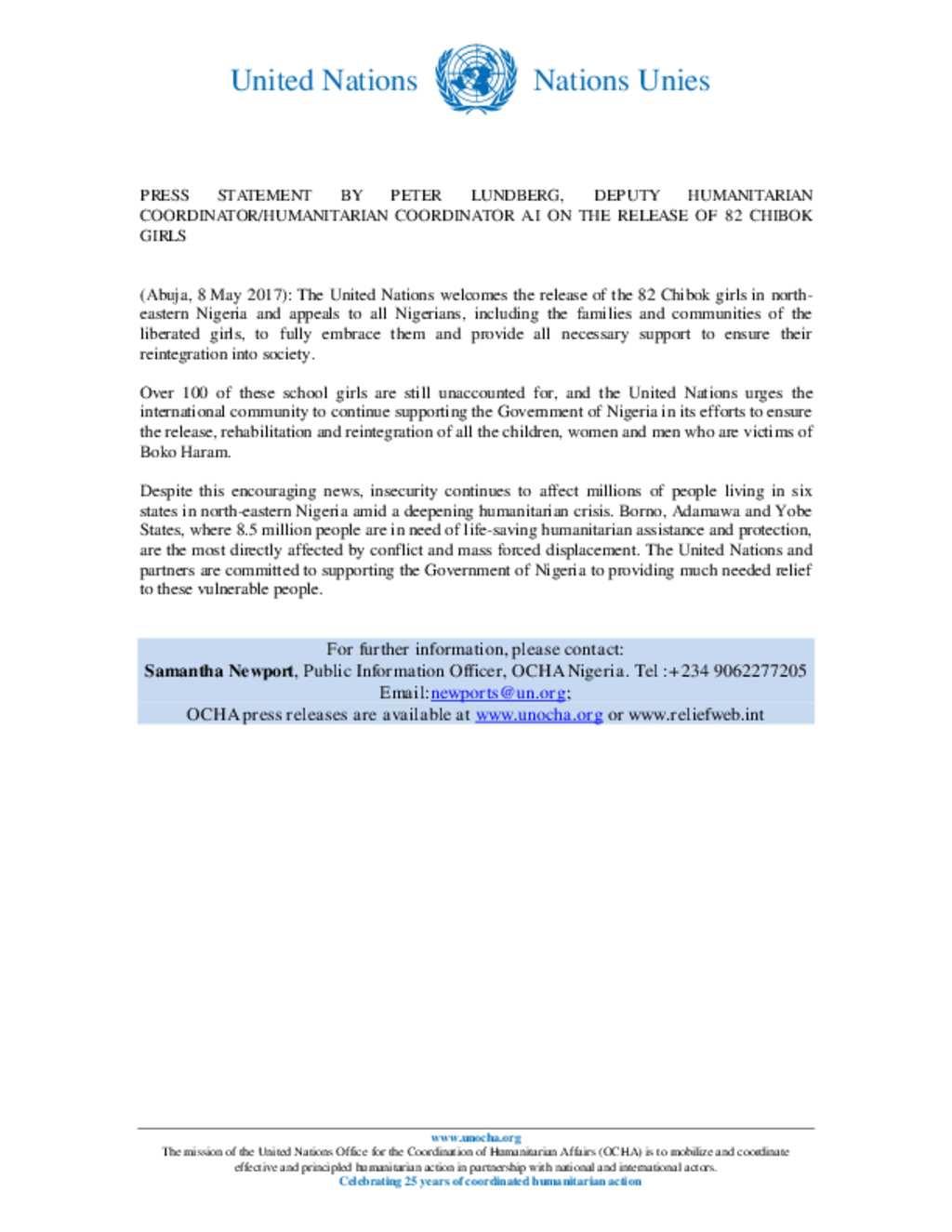 Document un nigeria press statement by peter lundberg un nigeria press statement by peter lundberg altavistaventures Images