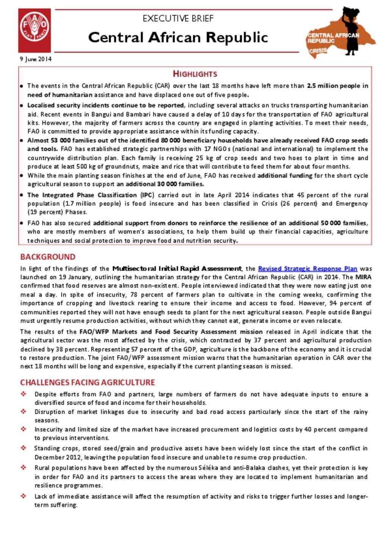 document fao car executive brief 9 june