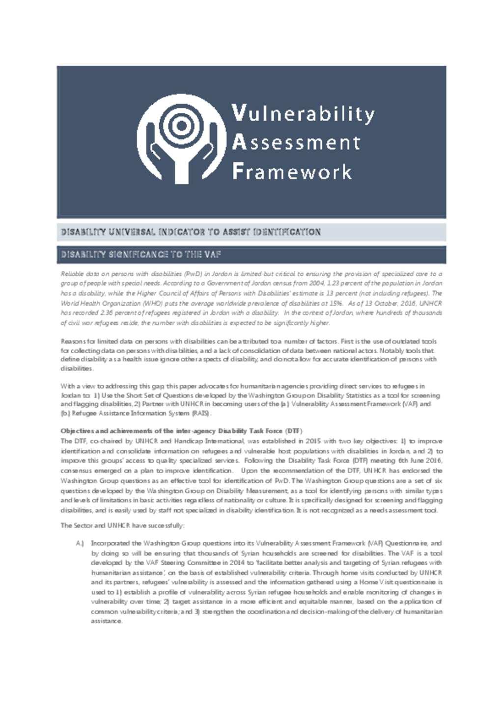Document - VAF Disability Universal Indicator inclusion 2016