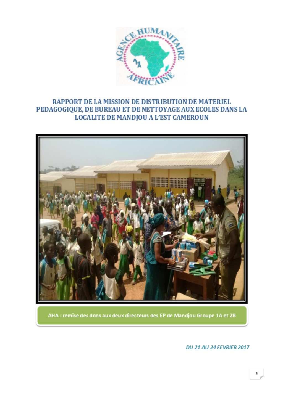 Document Rapport de la mission de distribution de matriel