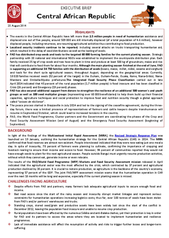 document fao car executive brief 25 august