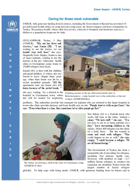 Document - UNHCR Turkey Donor Impact Update - May 2015