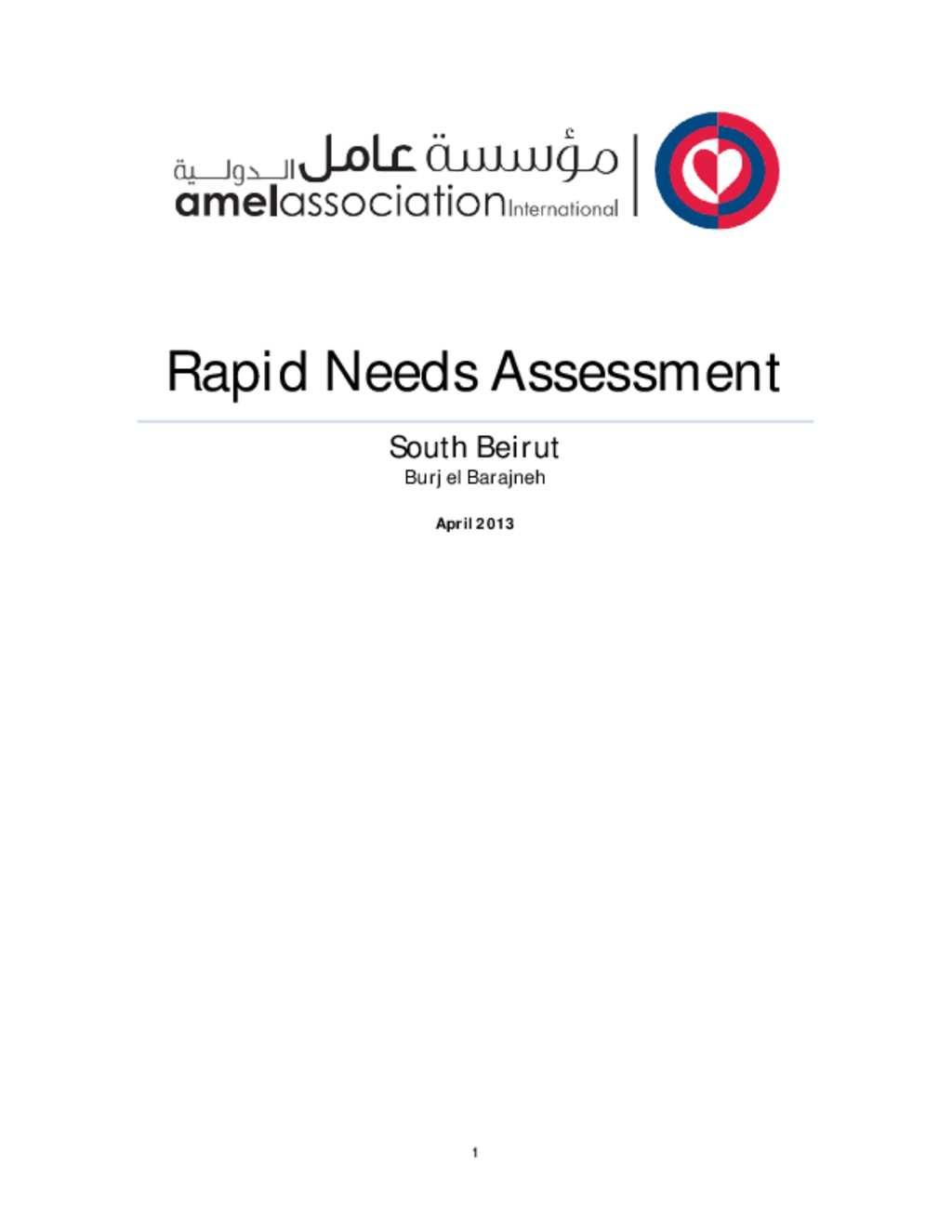 Needs Essment | Document Rapid Needs Assessment Amel