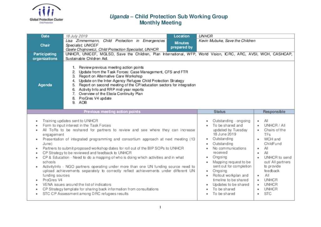 Document - Meeting Minutes CPSWG Uganda 18 July 2019
