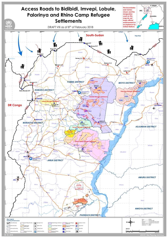 Document - Map: Access Roads to Bidibidi, Imvepi, Lobule, Palorinya