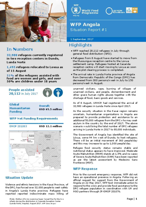 WFP Angola Situation Report #1