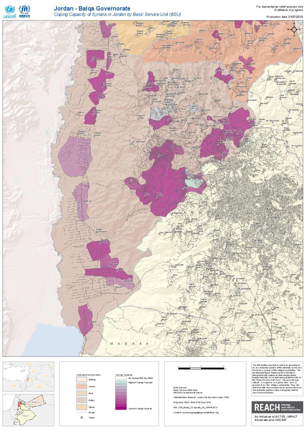 Document Balqa Coping Capacity Population Map - Jordan map hd pdf