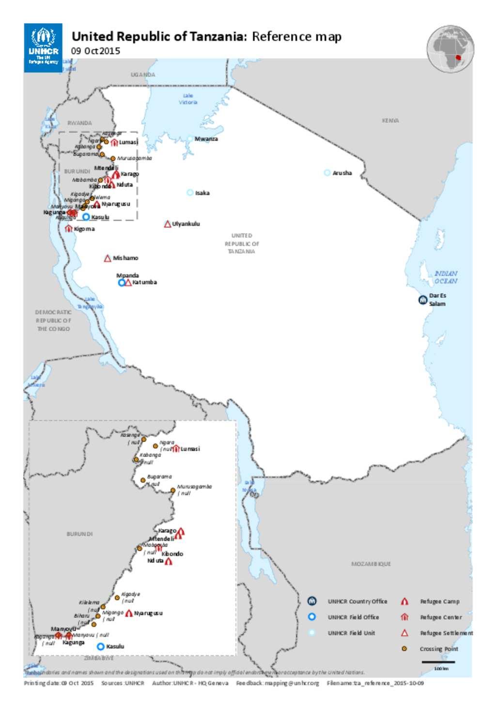 Document UNHCR Presence In Tanzania Map - Tanzania map download