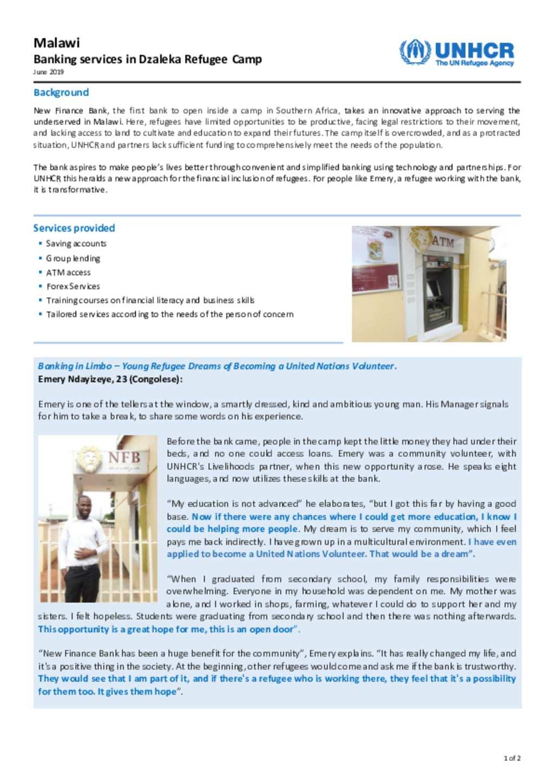 Document - Banking Services in Dzaleka Refugee camp