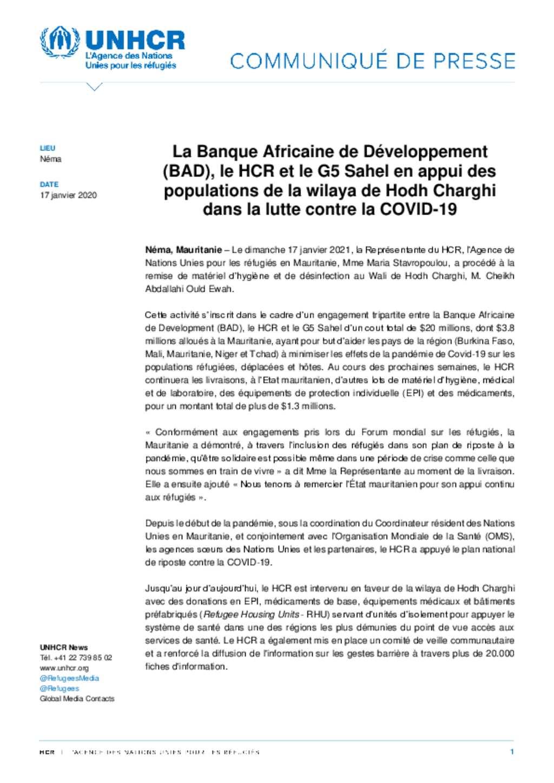 La Banque Africaine de Development (BAD), le HCR et le G5 Sahel en appui des populations de la wilaya de Hodh Chargui dans la lutte contre la COVID-19