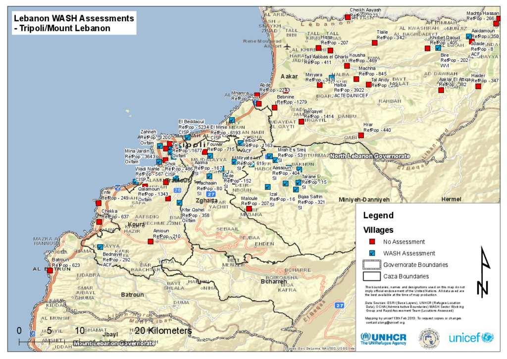 Document WASH Assessment Map TripoliMt Lebanon Feb 2013
