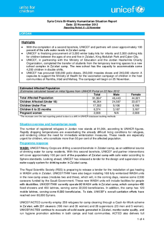 Document - Syria Crisis Bi-Weekly Humanitarian Situation Report