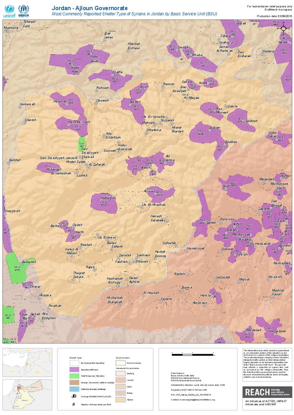 Document Ajloun Shelter Population Map - Jordan map hd pdf