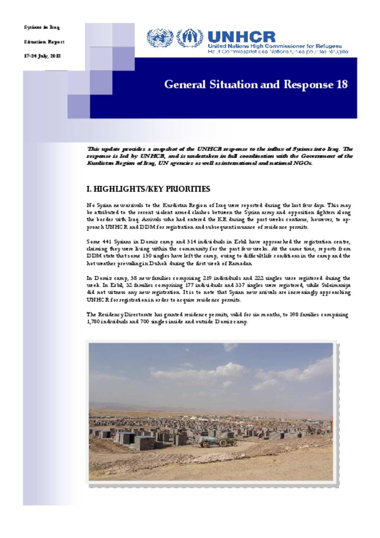 Document Unhcr Iraq Syria Situation Update 24 July 2012