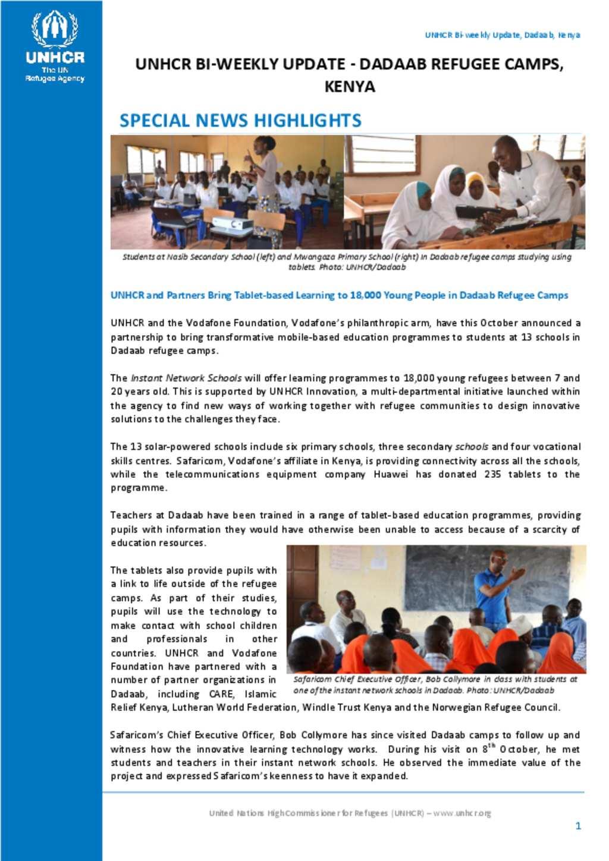Document - UNHCR Dadaab bi-weekly Update, 16-30 September