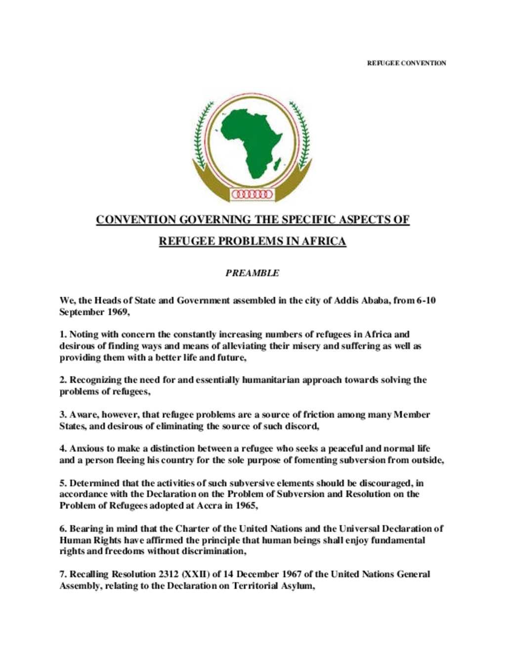 Document - OAU Refugee Convention