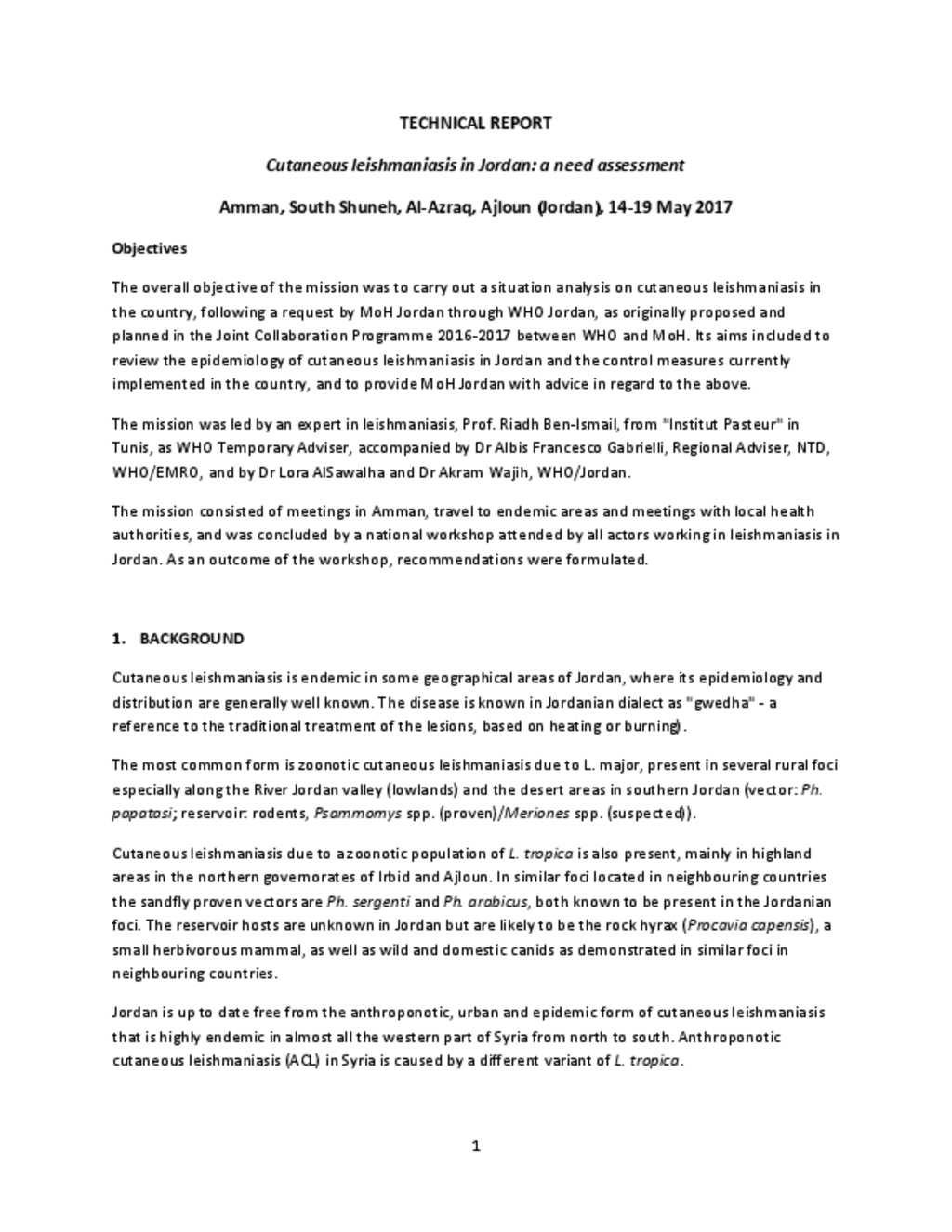 document technical report leishmaniasisjordan