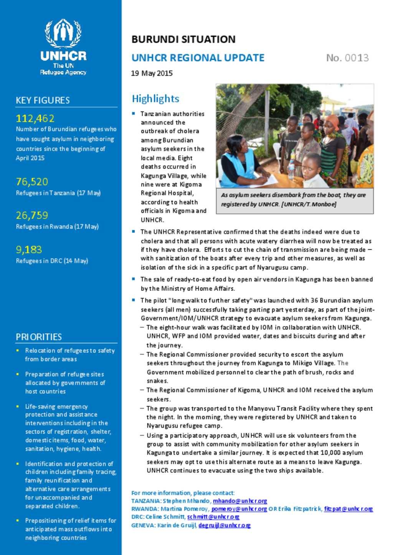 Document - Burundi Situation UNHCR Regional Update No  0013